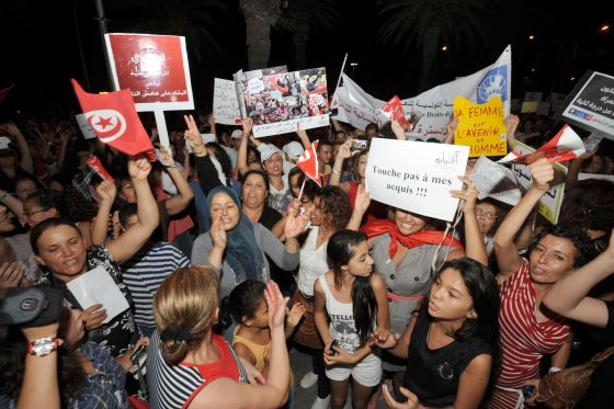 Manifestación por los derechos de la mujer en Túnez. 13 de agosto